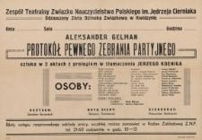 Protokół pewnego zebrania partyjnego - afisz spektaklu