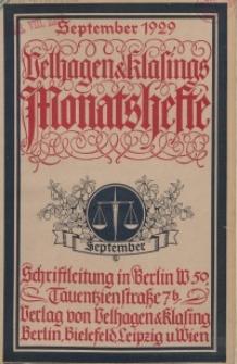 Velhagen & Klasings Monatshefte. September 1929, Jg. XLIV. Heft 1.