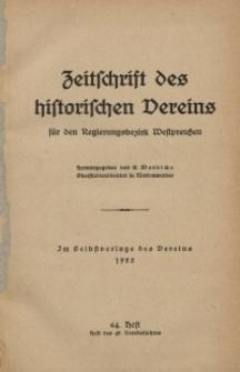 Zeitschrift des historischen Vereins für den Regierungsbezirk Marienwerder, H. 64