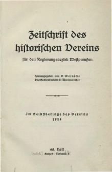 Zeitschrift des historischen Vereins für den Regierungsbezirk Marienwerder, H. 65