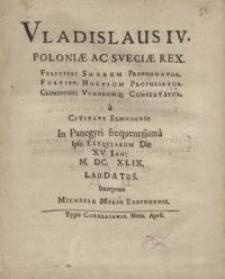 Vladislaus IV, Poloniae ac Sveciae rex...