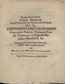 Sermo funebris inclytae memoriae...Gerhardi Comitis at Dönhof Pomeraniae Palatini...