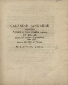 Calendae Januariae auspicantes Annum à nato Christo Theanthropo...