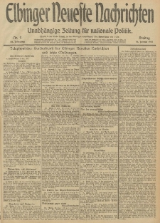 Elbinger Neueste Nachrichten, Nr. 9 Freitag 10 Januar 1913 65. Jahrgang