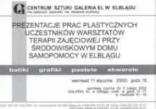 Prace plastyczne uczestników warsztatów Środowiskowego Domu Samopomocy w Elblągu – zaproszenie na wystawę