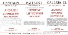 Andrzej Lipniewski: malarstwo, Modest Lipniewski: rysunek, Janusz Stanny: ilustracje – zaproszenie na wystawy