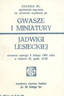 Jadwiga Lesiecka: gwasze, miniatury – zaproszenie na wystawę