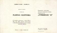 Plastyka Olsztyńska oraz Fotokreacje '85 – zaproszenie na wystawy