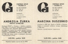 """Andrzej Żurek: """"Traktat słoneczny"""" oraz Marcin Duszeńko – zaproszenie na wystawy"""
