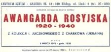 Awangarda Rosyjska: 1920-1940 – zaproszenie na wystawę