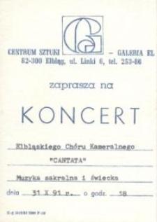 """Cantata"" w Galerii EL – zaproszenie na koncert"