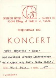 """Chór Męski """"Echo"""" – zaproszenie na koncert"""