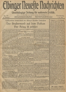 Elbinger Neueste Nachrichten, Nr. 179 Donnerstag 3 Juli 1913 65. Jahrgang