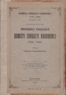 Protokóły posiedzeń Komisyi Edukacji Narodowej. Z. 38: 1778-1780