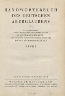 Handwörterbuch des deutschen Aberglaubens. Band 1