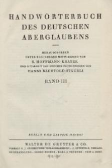 Handwörterbuch des deutschen Aberglaubens. Band 3