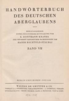 Handwörterbuch des deutschen Aberglaubens. Band 7