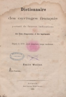 Dictionnaire des ouvrages français portent de fausses indications. Bd. 2.