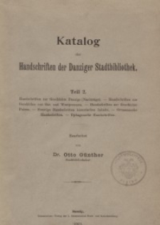 Katalog der Handschriften. Bd. 2. Teil 2