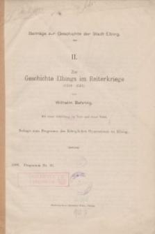 Zur Geschichte Elbings im Reiterkriege (1519-1521)