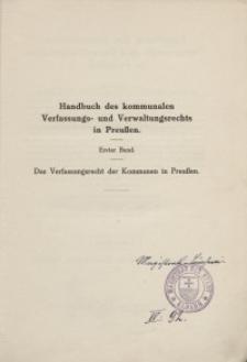Handbuch des kommunalen Verfassungs- und Verwaltungsrechts in Preussen. Bd. 1