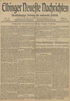 Elbinger Neueste Nachrichten, Nr. 33 Montag 3 Februar 1913 65. Jahrgang