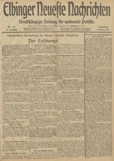 Elbinger Neueste Nachrichten, Nr. 34 Dienstag 4 Februar 1913 65. Jahrgang