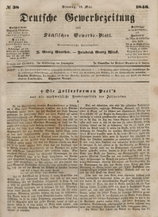 Deutsche Gewerbezeitung und Sächsisches Gewerbeblatt, 1846, Jahrg. XI, nr 38.