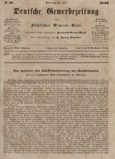 Deutsche Gewerbezeitung und Sächsisches Gewerbeblatt, Jahrg. XI. Dienstag, 21. Juli, nr 58.