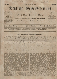 Deutsche Gewerbezeitung und Sächsisches Gewerbeblatt, Jahrg. XI. Dienstag, 4. August, nr 62.