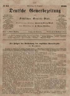 Deutsche Gewerbezeitung und Sächsisches Gewerbeblatt, Jahrg. XI. Dienstag, 11. August, nr 64.