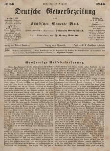 Deutsche Gewerbezeitung und Sächsisches Gewerbeblatt, Jahrg. XI. Dienstag, 18. August, nr 66.