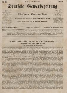 Deutsche Gewerbezeitung und Sächsisches Gewerbeblatt, Jahrg. XI. Freitag, 13. November, nr 91.