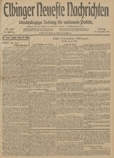 Elbinger Neueste Nachrichten, Nr. 250 Freitag 12 September 1913 65. Jahrgang