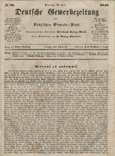 Deutsche Gewerbezeitung und Sächsisches Gewerbeblatt, Jahrg. XII, Dienstag, 12. Juli, nr 56.