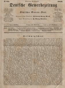 Deutsche Gewerbezeitung und Sächsisches Gewerbeblatt, Jahrg. XII, Dienstag, 10. August, nr 64.