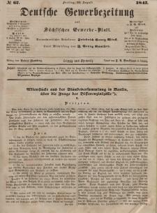 Deutsche Gewerbezeitung und Sächsisches Gewerbeblatt, Jahrg. XII, Freitag, 20. August, nr 67.
