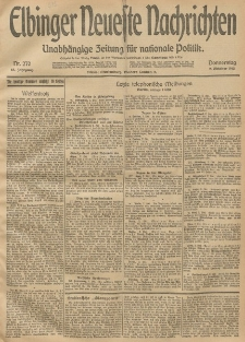 Elbinger Neueste Nachrichten, Nr. 270 Donnerstag 2 Oktober 1913 65. Jahrgang