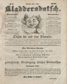 Kladderadatsch, 1. Jahrgang, Sonntag, 4. Juni 1848, Nr. 5