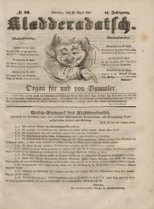 Kladderadatsch, 2. Jahrgang, Sonntag, 22. April 1849, Nr. 16