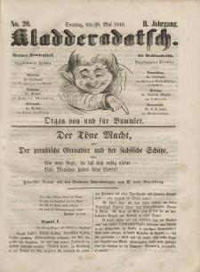 Kladderadatsch, 2. Jahrgang, Sonntag, 20. Mai 1849, Nr. 20
