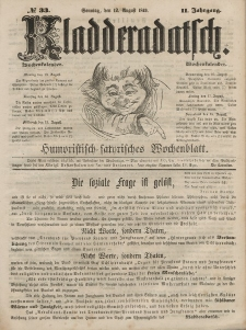 Kladderadatsch, 2. Jahrgang, Sonntag, 12. August 1849, Nr. 33