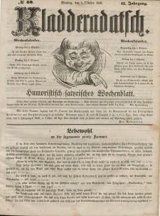 Kladderadatsch, 2. Jahrgang, Montag, 1. Oktober 1849, Nr. 40