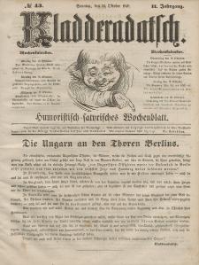 Kladderadatsch, 2. Jahrgang, Sonntag, 21. Oktober 1849, Nr. 43