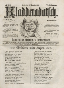 Kladderadatsch, 6. Jahrgang, Sonntag, 25. Dezember 1853, Nr. 60 + dod.
