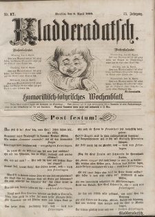 Kladderadatsch, 13. Jahrgang, 8. April 1860, Nr. 17