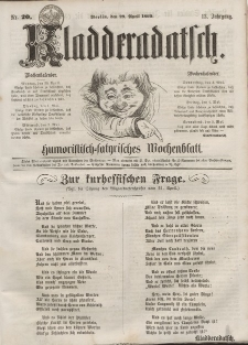 Kladderadatsch, 13. Jahrgang, 29. April 1860, Nr. 20