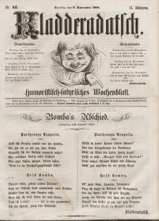 Kladderadatsch, 13. Jahrgang, 9. September 1860, Nr. 42