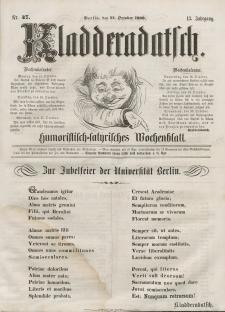 Kladderadatsch, 13. Jahrgang, 14. Oktober 1860, Nr. 47