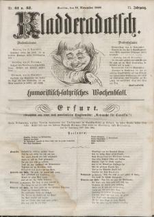Kladderadatsch, 13. Jahrgang, 11. November 1860, Nr. 51/52